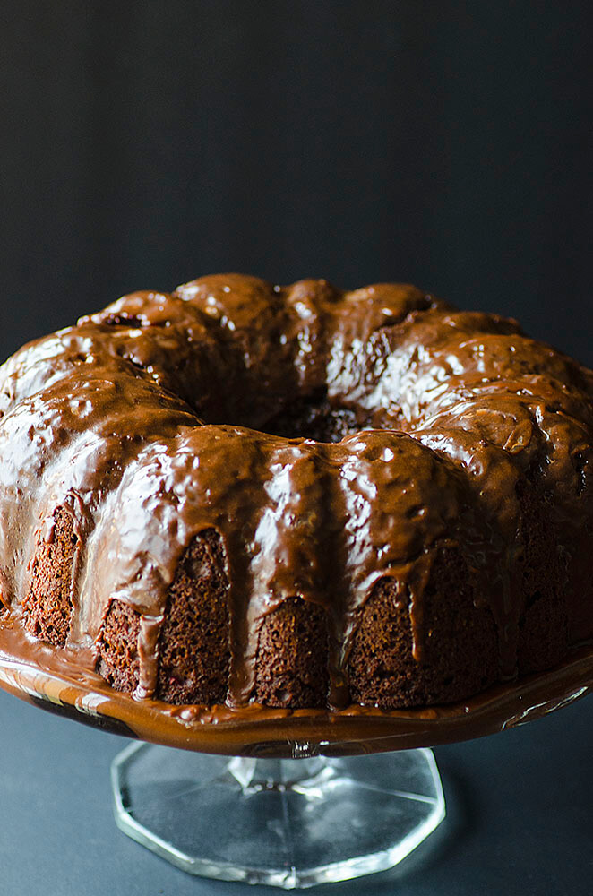 An EXTREMELY easy Cherry Chocolate Cake to make. Got five minutes? You're luscious, velvety, rich and moist cake is made.