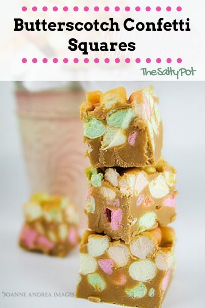 These butterscotch confetti squares are so delicious, they melt in your mouth! Super easy to make, these marshmallow treats with butterscotch chips come together in a snap!