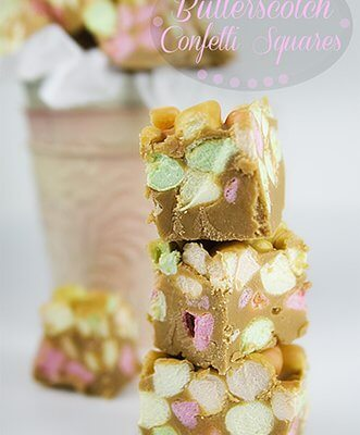 Butterscotch Confetti Squares! So amazingly tasty and crazy easy to make. A perfect solution for gift exchanges, parties, and teacher gifts!