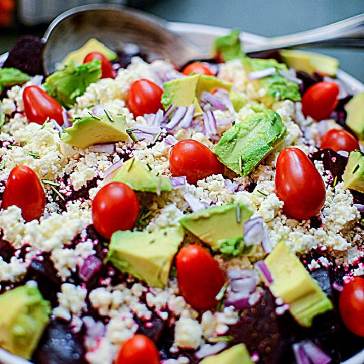 This beet salad looks so fresh with the avocado and fresh cherry tomatoes!