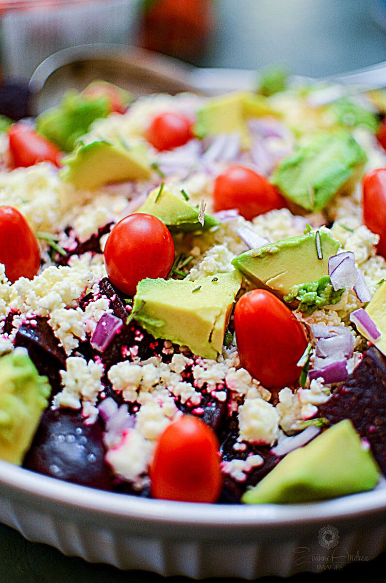 Beet Avocado and Feta Cheese Salad