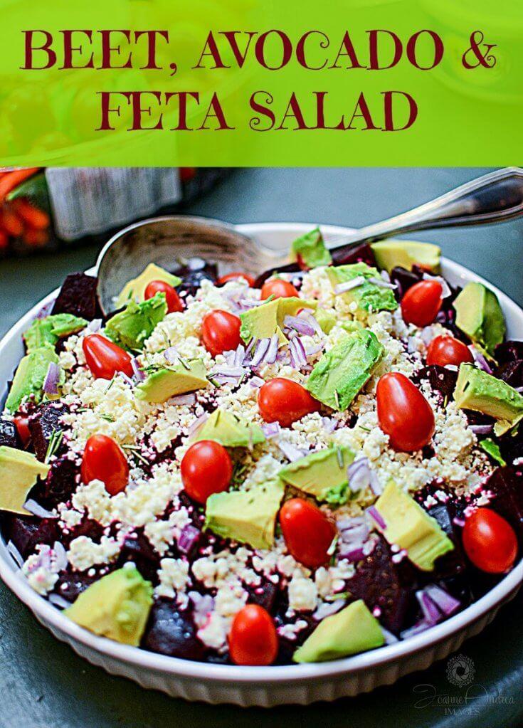 Healthy Beet Avocado and Feta Cheese Salad