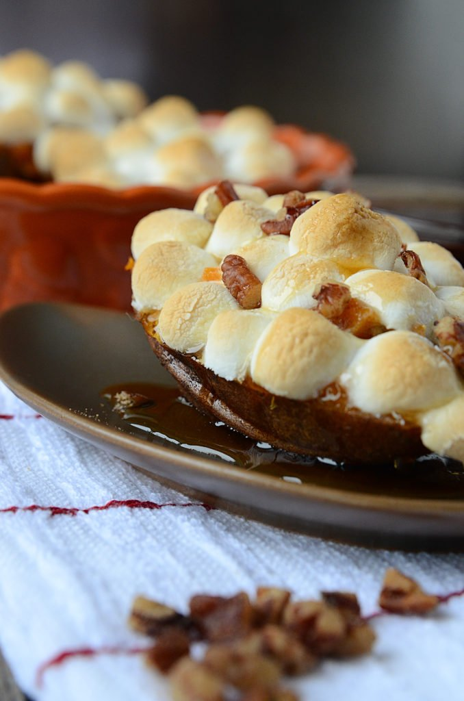 MAPLE PECAN SWEET POTATO BOATS