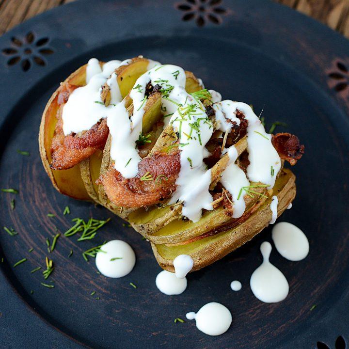 Smoky Bacon HASSELBACK POTATOES with Cream Sauce