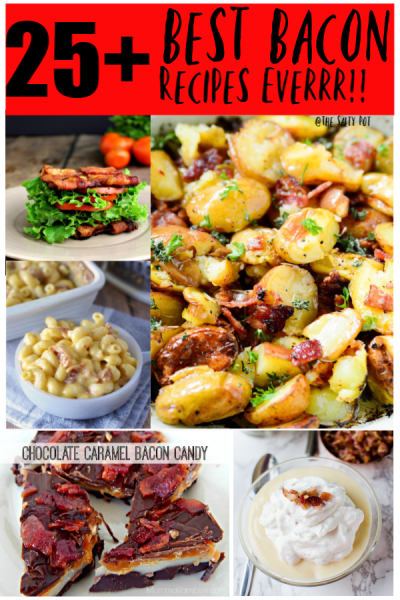 twenty five best bacon recipes collage, showing 5 pictures of the recipes offered.
