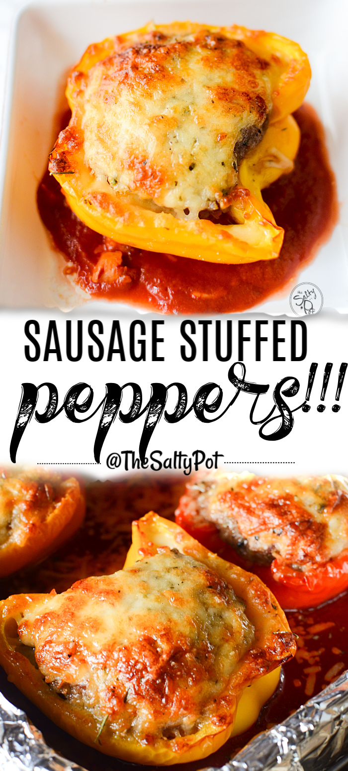 Sausage stuffed sweet peppers with Parmesan cheese