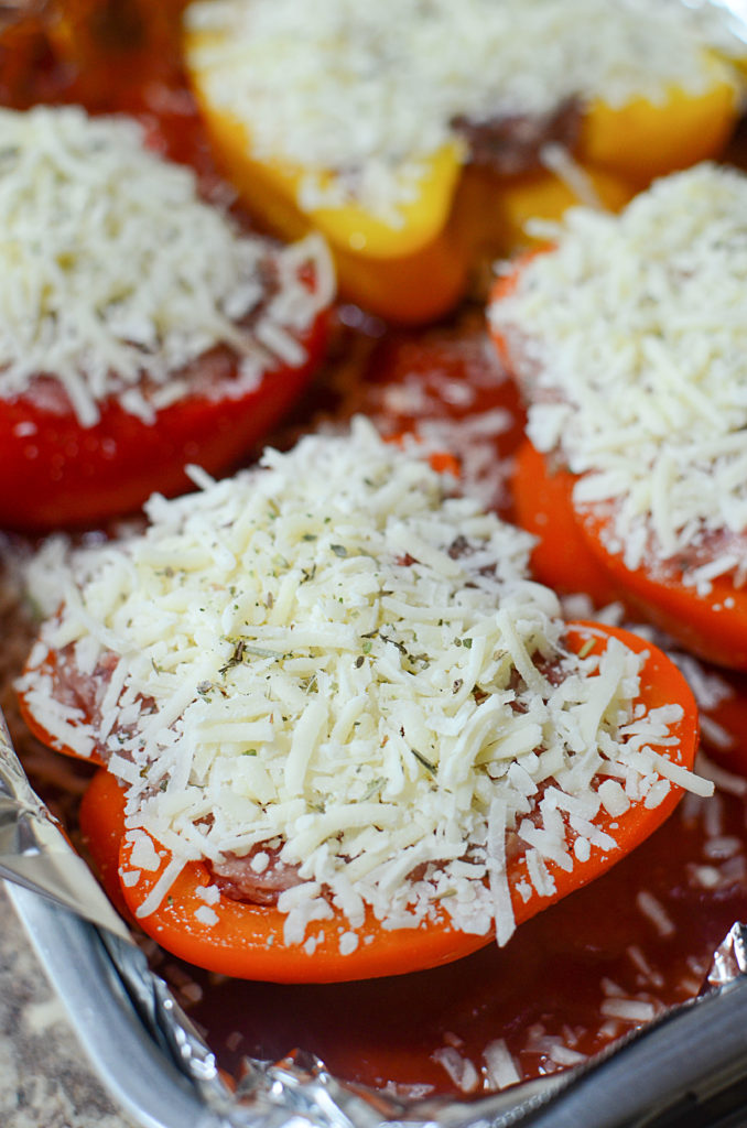 This red sweet pepper stuffed with sausage makes it a super yummy keto meal! Ready to go in the Oven!