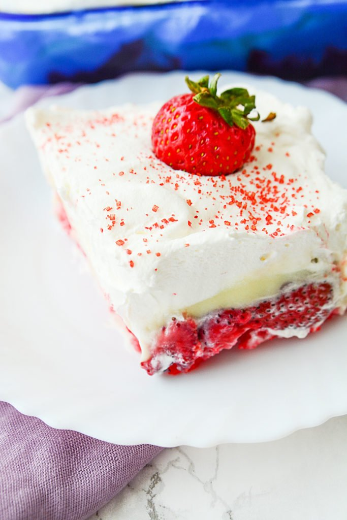 sweet and yummy strawberry angel food cake with whipped cream and vanilla pudding
