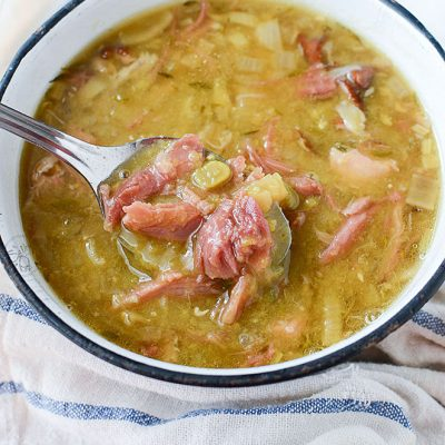 incredible slow cooker smoked pork hock soup with peas