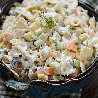 Super yummy and delicious dill pickle veggie pasta salad! Bring this salad to any bbq or cookout, and you have a winner!