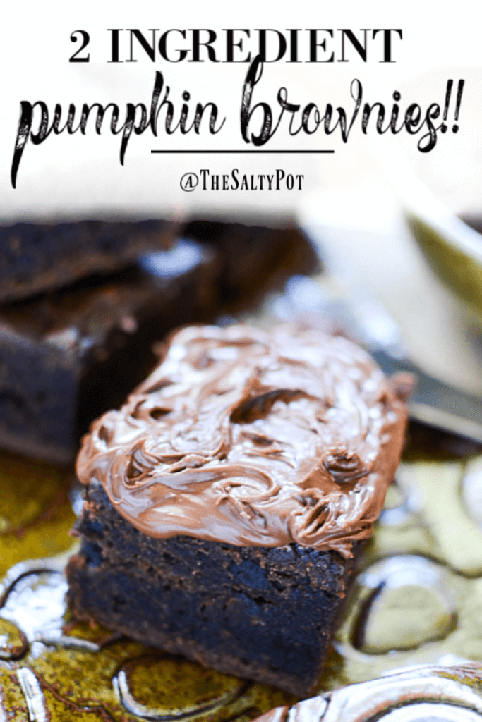 These two ingredient pumpkin brownies will hit all those brownie chocolate cravings in one bite!! Just look at them on that plate!  #thesaltypot #brownies #brownierecipes #desserts #easydesserts #pumpkinrecipes #pumpkin