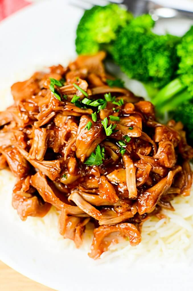 Whether you eat vegetarian all the time or are looking for a meatless meal, this Ninja Foodi Vegetarian Pulled Pork recipe is mindblowing and delicious! It's so effortless it makes your busy life so simple! - The Salty Pot