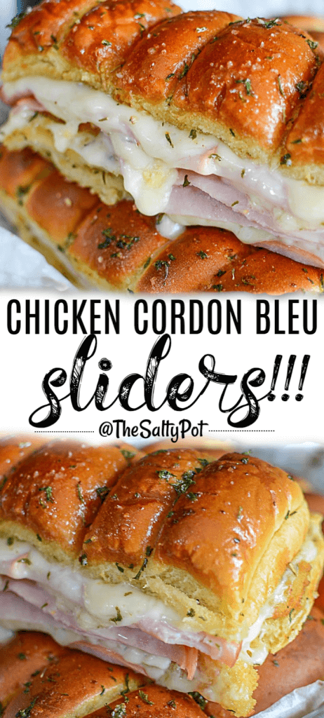 All the flavors of traditional Chicken Cordon Bleu, but handheld! Perfect for any game day or crowd, this Chicken Cordon Bleu Slider has that crispy chicken crunch, the salty bite from ham, and that ooey gooey cheesiness that we all LOVE! It's a hit every time I make it!! #thesaltypot #sliders #chickenrecipes #sliderrecipes #chickencordonblue