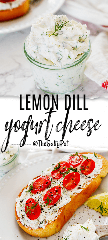 This Lemon Dill Yogurt Cheese is creamy and spreadable! It's PERFECT on your morning toast! Check out the quick recipe here! - The Salty Pot