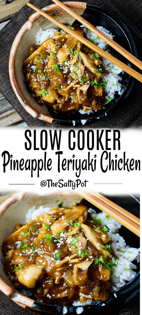 This Slow Cooker Pineapple Teriyaki Chicken Recipe is simply so delicious and so easy! The slow cooker makes it easy and great!
