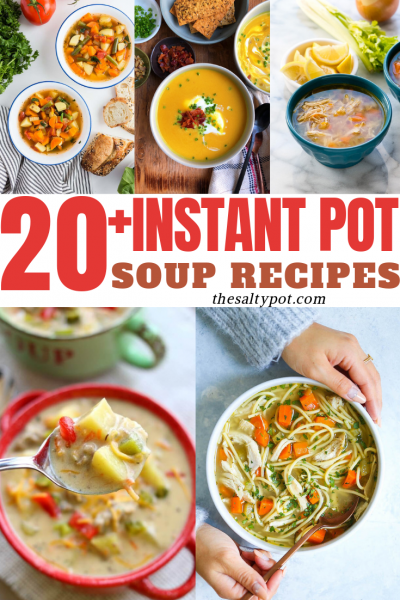 A collage of photos showing all the different soup recipes featured