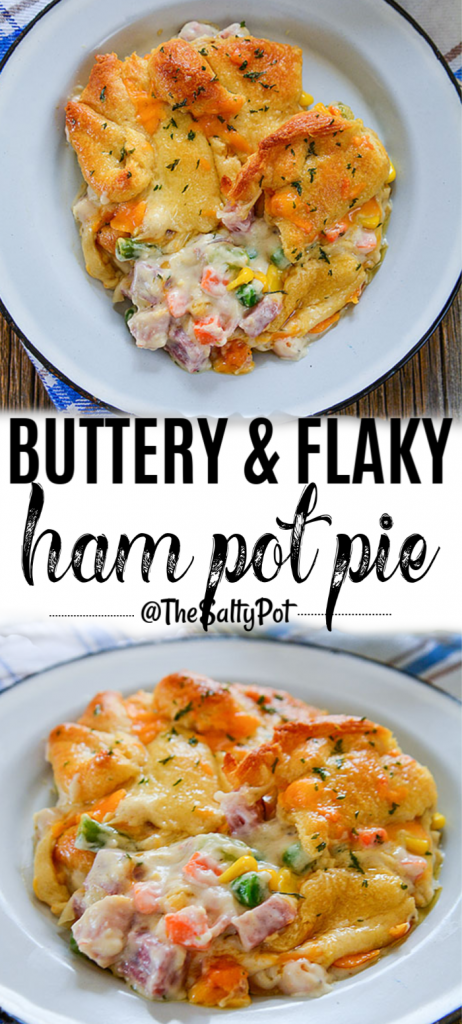 Ham Pot Pie made with leftover ham and veggies with a flaky, buttery crust. YUM!