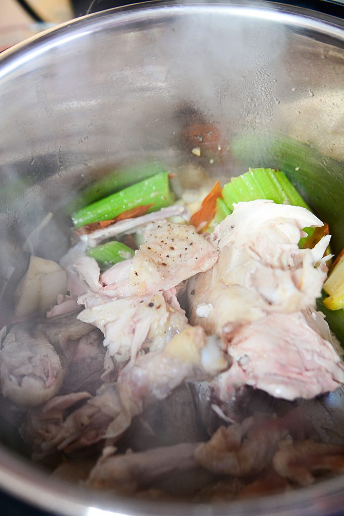 Instant Pot Bone Broth- Chicken - Cooked Meat and veggies
