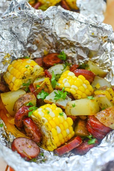 Delicious Sausage Foil Packets With Corn - ready to eat foil pack