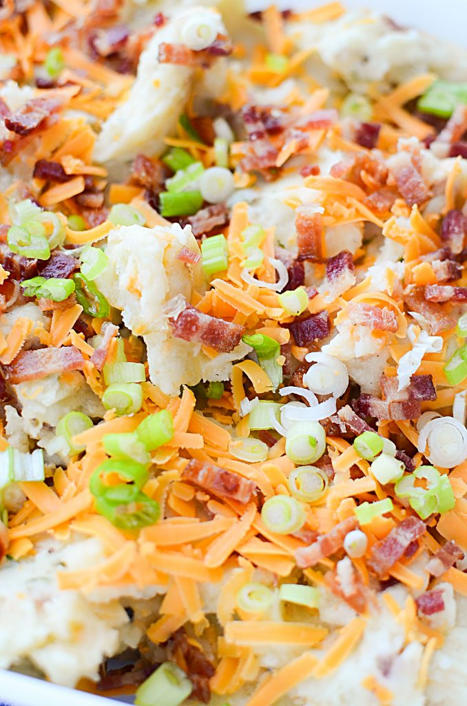 Yummy Instant Pot Loaded Mashed Potatoes - Closeup of loaded potatoes