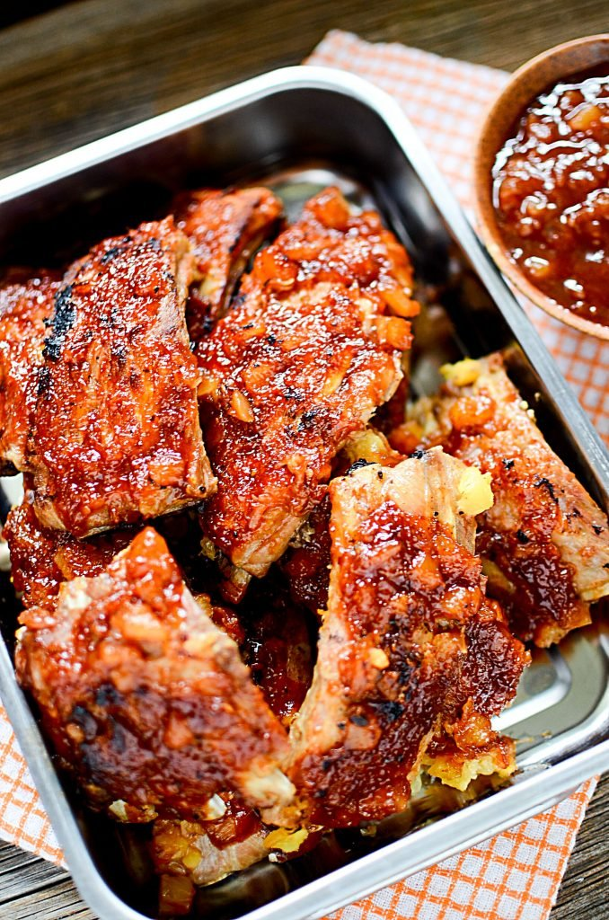 Pineapple BBQ Instant Pot Ribs - Pan with delicious cooked ribs.