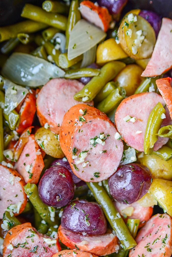Slow Cooker Sausage Casserole With Green Beans And Potatoes - Colorful food in slow cooker