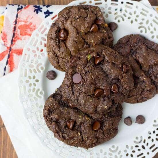 Gluten-Free Triple Chocolate Zucchini Cookies {Dairy-Free}