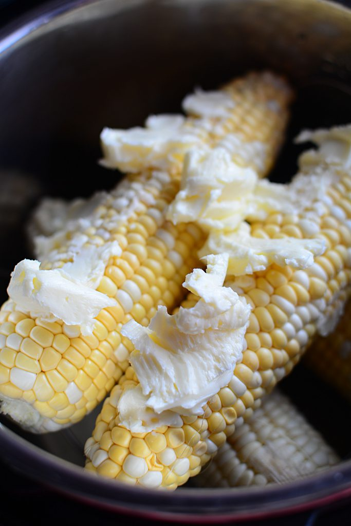 Instant Pot Corn On The Cob With Garlic Butter - Corn with butter in Instant Pot