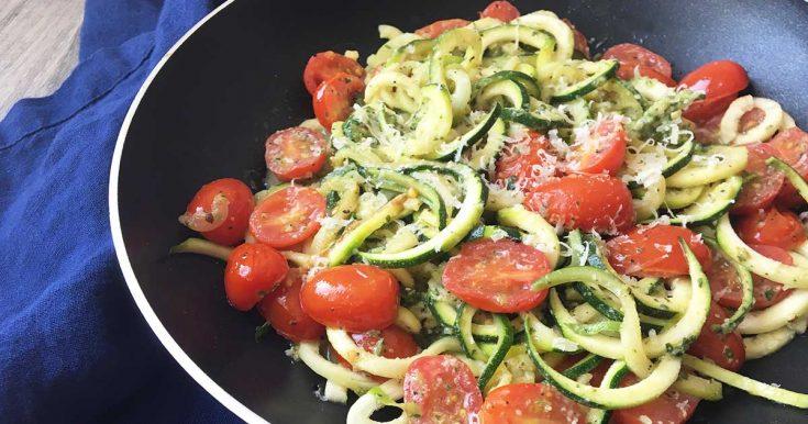 Fresh Zucchini Pasta with Tomatoes and Homemade Pesto