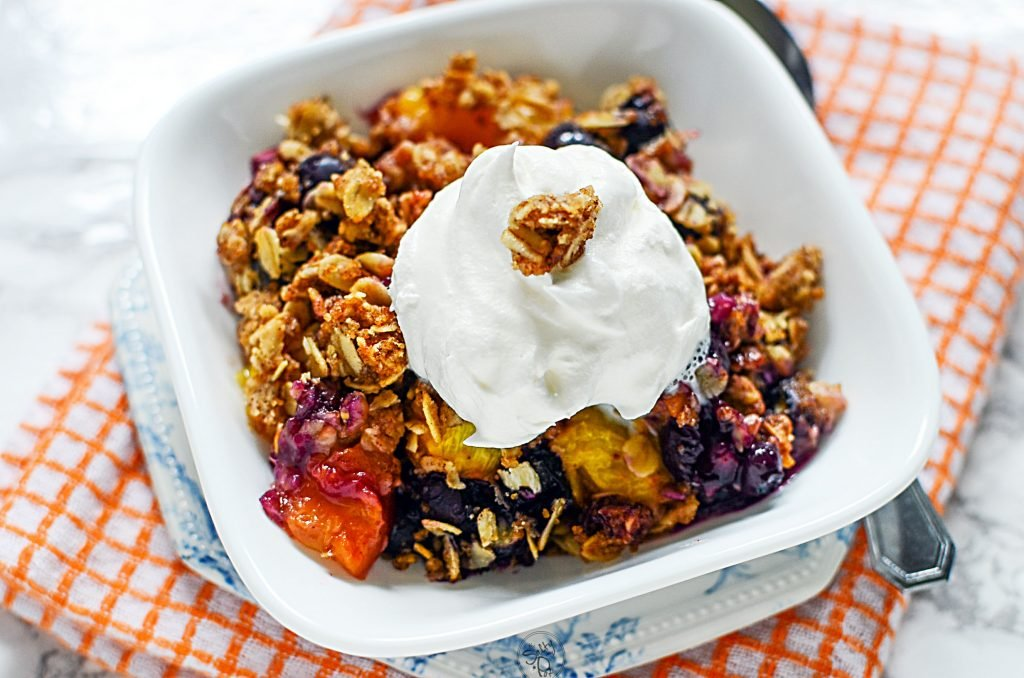 Bowl with blueberry crisp
