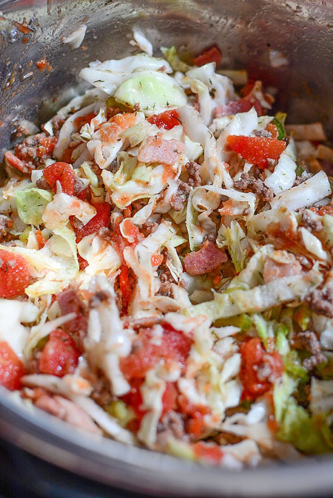 All the ingredients for the easy cabbage rolls mixed together