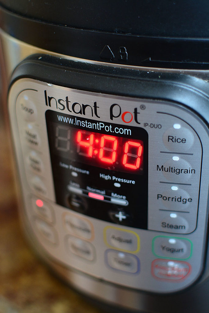 The instant pot showing 4 hours time