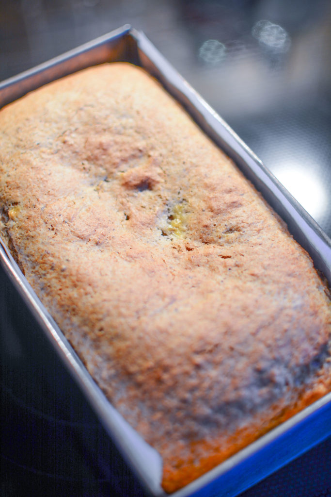 a banana loaf fresh from the oven