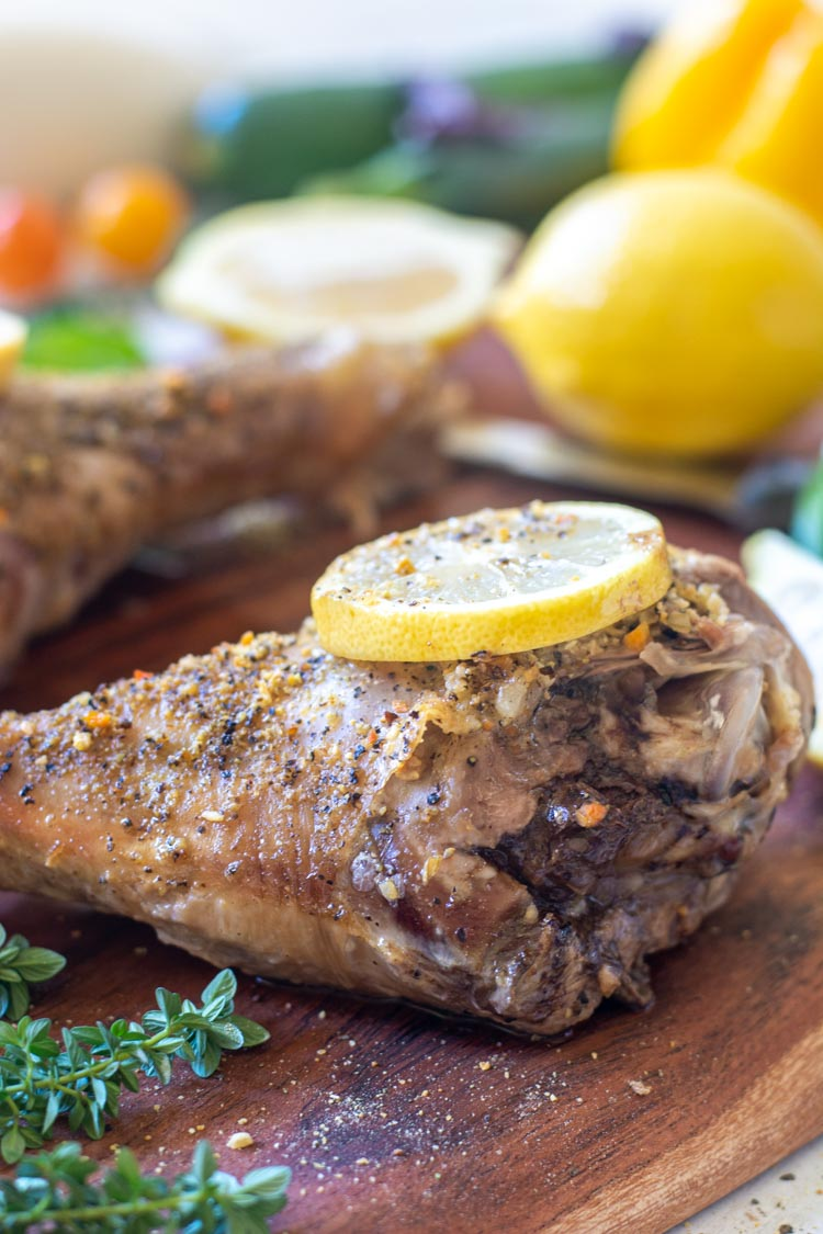3 Ingredient Slow Cooker Lemon Herb Turkey Legs to Prep in Less than 10 Minutes!