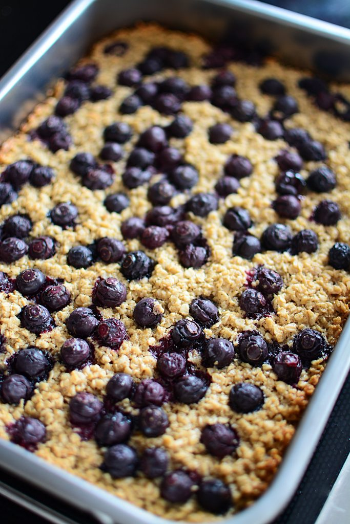 Just look at this deliciousness! Those berries burst in your mouth when you bite into the oatmeal bars... yummm!