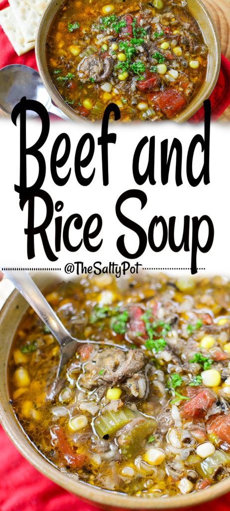 This hearty beef and rice soup is perfect in so many ways. Delicious, filling and easy on the pocketbook! Pin this pin to save the recipe!