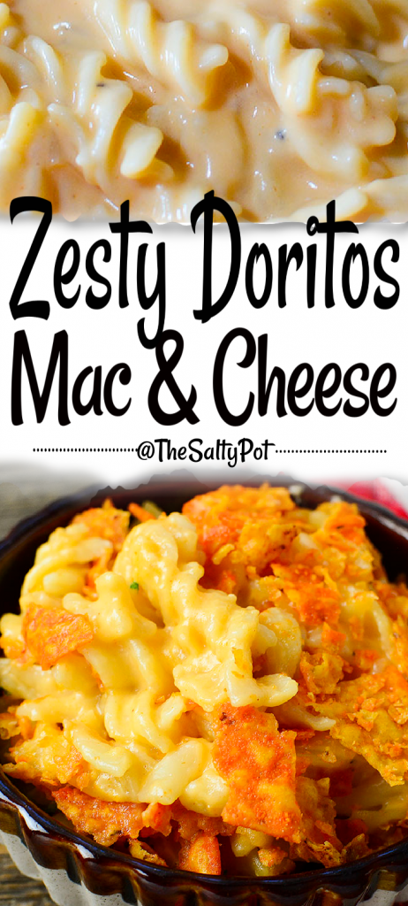 Creamy, cheesy, with a zesty cheese, crunchy topping! This Zesty Doritos Mac and Cheese is a delicious twist on the classic macaroni and cheese casserole! #thesaltypot #macandcheese #cheesymac #doritos