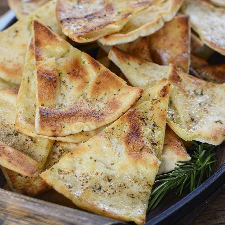 Garlic Rosemary Pita Chips