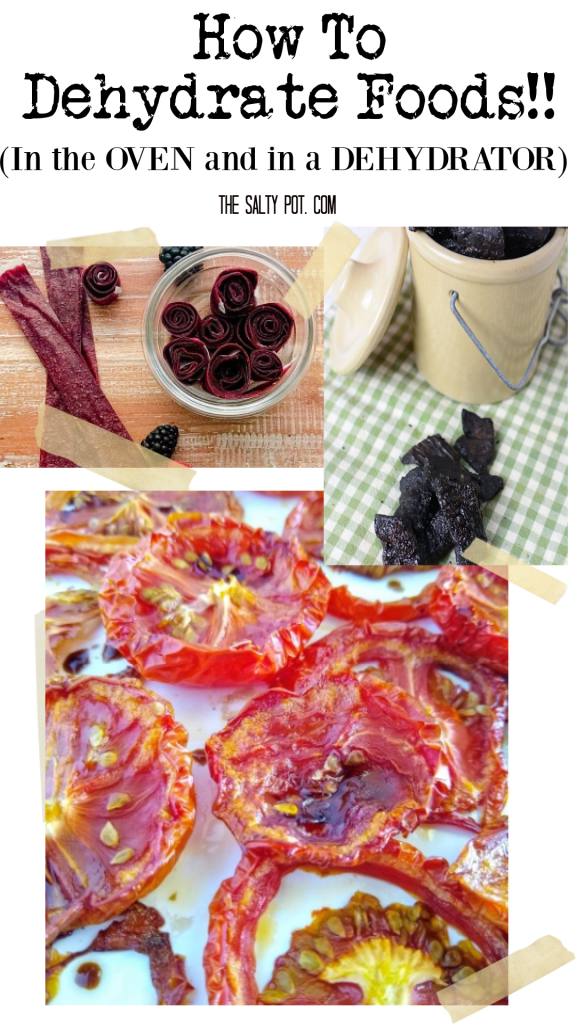 A collage photo of different types of food to dehydrate.